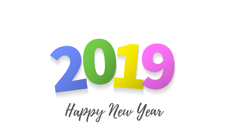 Happy New Year 2019 greeting card with color numbers and vector calligraphy lettering text for Christmas holiday celebration white background