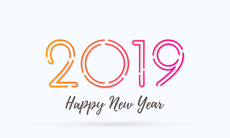 Happy New Year 2019 greeting card with numbers. Vector calligraphy lettering text for Christmas holiday celebration white background Ilustracja