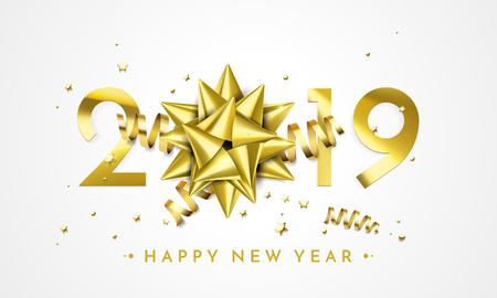 Carte de voeux de bonne année 2019 de décoration d'arc cadeau doré. Confettis d'étoiles scintillantes de vecteur pour la célébration des vacances de Noël sur fond noir premium