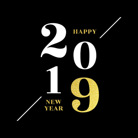 Happy New Year 2019 greeting card of glitter gold Christmas confetti on premium black vector background Ilustracja