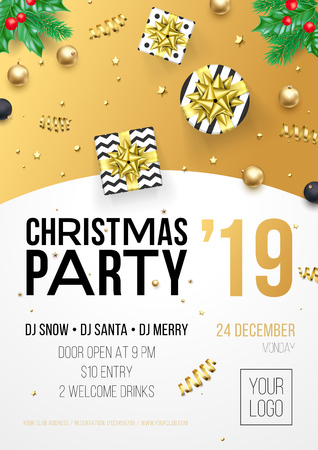 Christmas party invitation poster or card for 2019 Happy New Year holiday celebration of vector golden confetti glitter and gifts