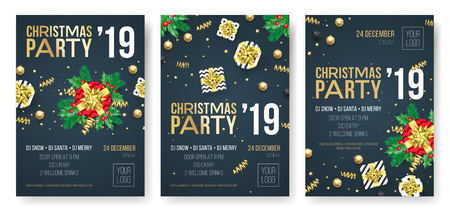 Christmas party invitation posters or cards for 2019 Happy New Year holiday celebration event. Vector new year gifts and golden stars of confetti glitter on black background Ilustracja