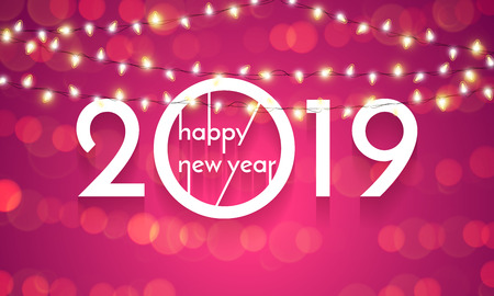 Happy New Year of Christmas lights lamps. Vector golden glittering text with sparkle shine for 2019 new year holiday greeting card on pink background