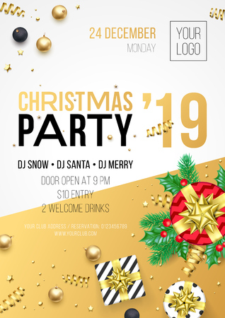 Christmas party invitation poster or card for 2019 Happy New Year holiday celebration. Vector new year gifts and golden stars with confetti glitter and gifts Ilustracja
