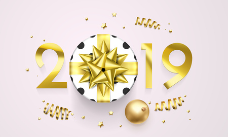 2019 Happy New Year greeting card of golden gift bow on present with sparkling glitter stars. Vector confetti for Christmas holiday celebration on premium white background Ilustracja