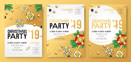 Christmas party invitation poster or card for 2019 Happy New Year holiday celebration. Vector design of golden confetti glitter and celebration gifts Ilustracja