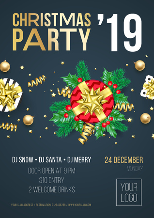 Christmas party invitation poster or card for 2019 Happy New Year holiday celebration with golden confetti glitter on vector black background