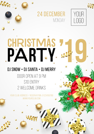 Christmas party invitation poster or card for 2019 Happy New Year holiday celebration. Vector new year gifts and golden stars ith confetti glitter on white background