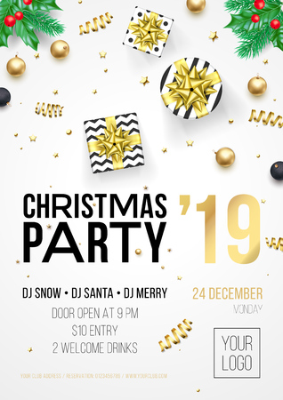 Christmas party invitation poster or card for 2019 Happy New Year holiday celebration. Vector golden confetti glitter on white background