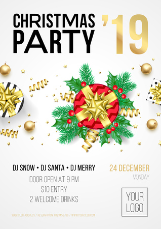 Christmas party invitation poster or card for 2019 Happy New Year holiday celebration with golden confetti glitter on vector white background Ilustracja