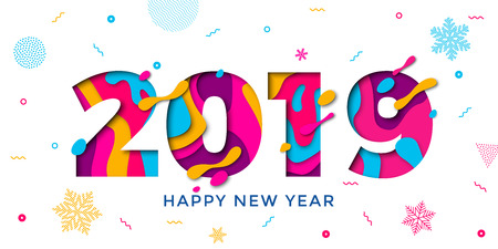 Cartolina d'auguri di felice anno nuovo 2019 con fiocchi di neve tagliati con carta. Reticolo della decorazione dei coriandoli di vettore dei numeri multistrato di colore per la priorità bassa di celebrazione di festa di Natale Vettoriali
