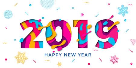 Tarjeta de felicitación de feliz año nuevo 2019 con copos de nieve de papel cortado. Patrón de decoración de confeti de vector de números multicapa de color para el fondo de celebración navideña Ilustración de vector
