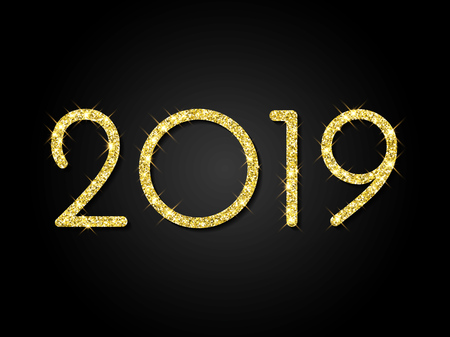 2019 Happy New Year greeting card of golden glitter and sparkling light for Christmas holiday celebration on vector black shiny background
