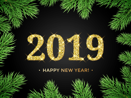 Happy New Year of 2019 glitter gold in Christmas tree frame on black background. Vector golden glittering text of sparkle confetti shine for holiday greeting card