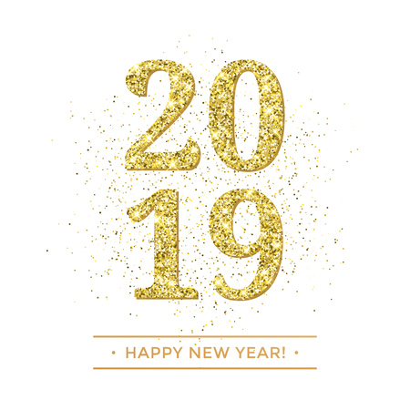 Happy New Year of glitter gold confetti or sparkle fireworks. Vector 2019 glittering text with sparkle shine for new year holiday premium white greeting card
