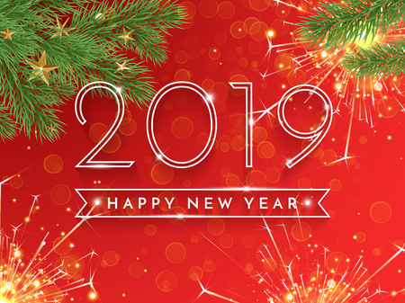 Happy New Year 2019 glitter gold greeting card of Christmas tree with sparkles and golden stars decoration on vector red sparkling background for holiday celebration design