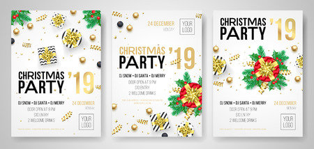 Christmas party invitation posters or flyers for 2019 New Year holiday celebration. Vector golden confetti glitter and present gifts on white background Ilustracja