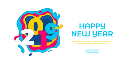 Happy New Year 2019 greeting card or web banner with paper cut effect of color multilayer vector numbers for Christmas holiday celebration background Ilustracja