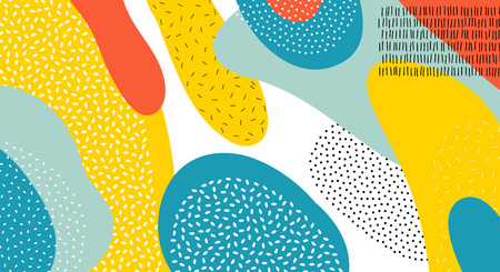 Abstract art color vector Memphis lines and dots pattern background of colorful oval or circle shapes in red, yellow, or blue on white background design