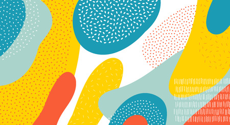 Abstract art color vector pattern background of colorful oval or circle shapes with Memphis dots and lines design Ilustracja