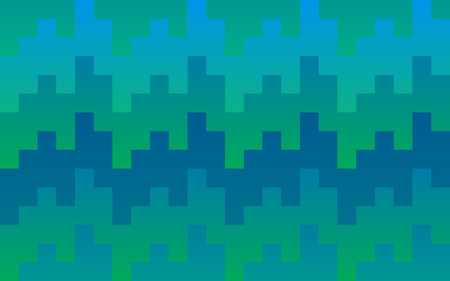Pixel pattern background of vector blue and green seamless square mosaic knit pixels in wave pattern Ilustracja