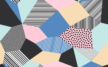 Abstract patchwork pattern background of vector patch artwork of giclee dots, lines and strokes shapes Ilustracja