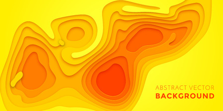 Abstract papercut and color multi layer gradient on vector yellow orange pattern background