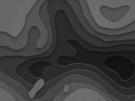 Abstract papercut and black color multi layer pattern on vector gray anthracite gradient background