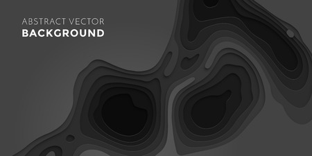 Papercut geometric black pattern background or liquid 3D cutout with dark gray color multi layer for web banner or poster design