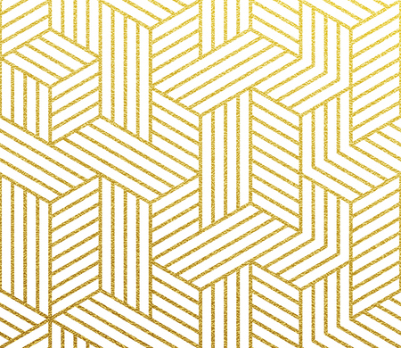 Geometric golden 3D cubes polygon of lines mesh pattern. Vector abstract gold foil background of seamless glittery mosaic grid pattern Illustration