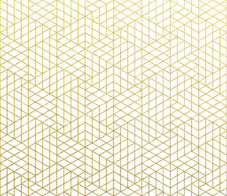 Golden glittery geometric pattern. Vector abstract gold foil texture background of seamless mosaic 3D cube lines pattern