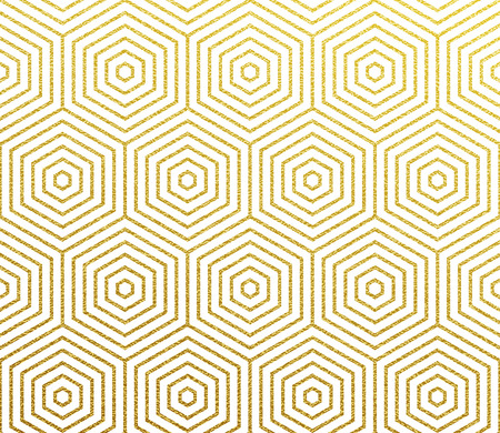 Geometric glittery pattern. Vector abstract background of golden foil texture and gold honeycomb pattern