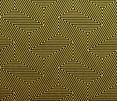 Abstract geometric pattern of golden glittery seamless triangle mosaic grid lines. Vector gold tangle pattern Illustration