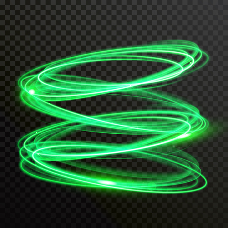 Green neon light circles. Vector abstract shiny trace or spiral twirl trail with shine sparkle effect isolated on transparent background