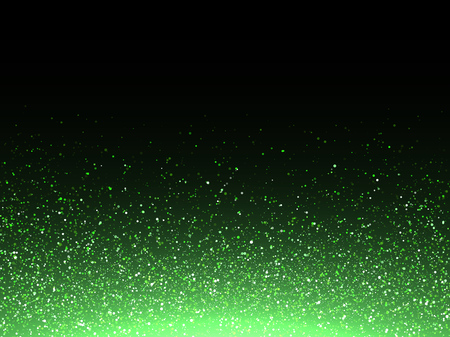 Green glitter confetti splash abstract background with vector glow sparkling star dust