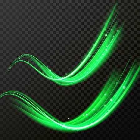 Onda di particelle di scintillio verde. Traccia di cometa di luce vettoriale con effetto bagliore scintillante Vettoriali