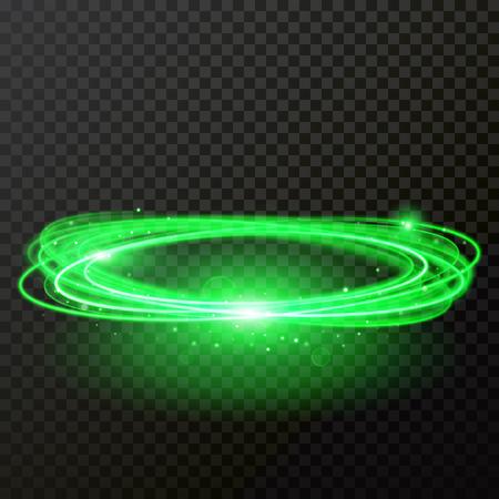 Los círculos abstractos de luz de neón verde brillan. Vector rastro brillante o efecto de rastro de giro en espiral sobre fondo transparente