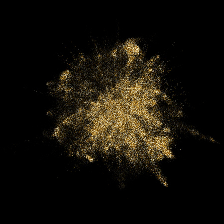 Golden glitter explosion with particles blast effect. Vector gold glare firework explode with premium shiny splatter on luxury black background
