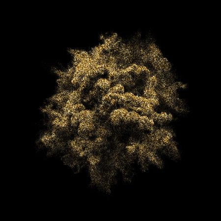 Goldener Glitzerausbruch oder Explosion mit Goldpartikel-Pulverexplosion. Vektor abstraktes Weltraumfeuerwerk oder Blendungsspritzer auf schwarzem Hintergrund