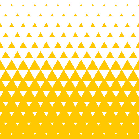 Yellow and white triangular halftone transition pattern background.