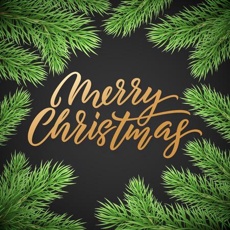 Goldweihnachtstextkarte auf schwarzem Hintergrund mit grünen Weihnachtsbaumniederlassungen. Goldener Weihnachtstext Vektorgrafik