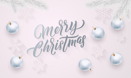 Merry Christmas silver calligraphy lettering, Xmas silver balls on snowflakes pattern. Vector Xmas holiday greeting card background