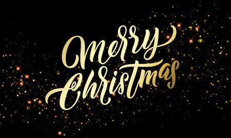 Christmas golden light sparkles and gold calligraphy lettering. Xmas holiday golden glitter light blurs