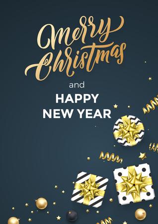 Christmas black poster  design template of golden glittering confetti decoration.