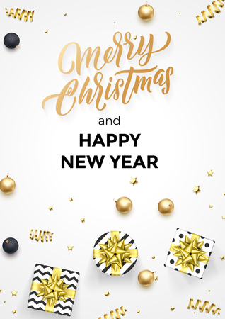 Happy New Year and Merry Christmas greeting card  template of golden modern quote calligraphy. Ilustracja
