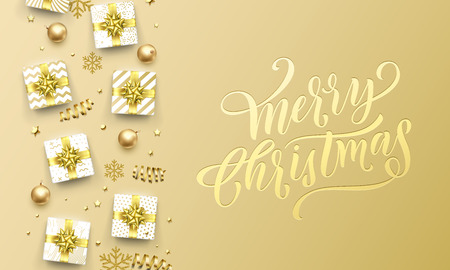Merry Christmas golden greeting card on premium background. Vector Christmas calligraphy lettering emboss with gifts, snowflakes and gold glitter stars