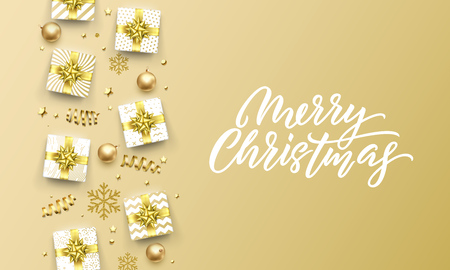 Merry Christmas golden greeting card of gold gifts, stars confetti and snowflakes.