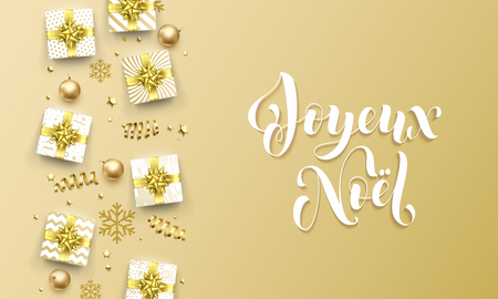 Joyeux Noel Merry Christmas golden French greeting card of gold gifts, stars confetti and snowflakes. Ilustracja