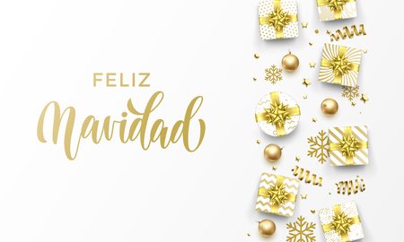 Feliz Navidad Merry Christmas Spanish golden greeting card of gold gifts, stars confetti and snowflakes. Vector premium Christmas design template, calligraphy lettering text on golden background