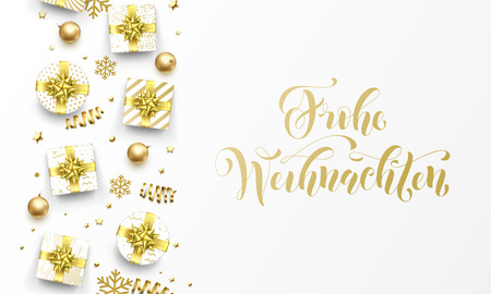 Frohe Weihnachten Merry Christmas golden German greeting card of gold gifts, stars confetti and snowflakes. Vector premium Weihnachten German Christmas calligraphy lettering text on golden background Illustration